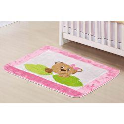 Tapete para Quarto de Bebê de Pelúcia Coleção Ursa Nina - Rosa