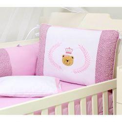 Kit Berço 9 Peças Americano c/ Mosquiteiro - Coleção Urso Majestade - 100% Algodão - Rosê