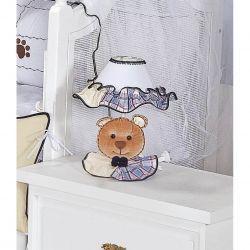 Abajur Enfeitado para Quarto Bebê Coleção Urso Nino - Azul
