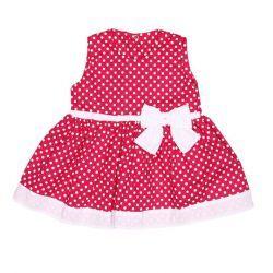Vestido sem Manga Laço Feminino Pink com Poá Branco Tecido Tricoline - P