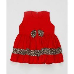 Vestido sem Manga Laço Feminino Vermelho com Onça Tecido Tricoline - M