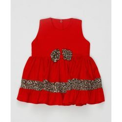 Vestido sem Manga Laço Feminino Vermelho com Onça Tecido Tricoline - G