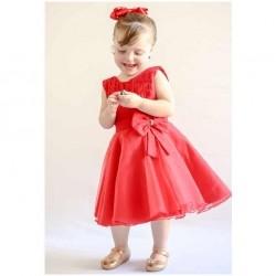 Vestido Mini Diva Vermelho Tecido Tricoline Com Organza  e Tule Detalhe em Laço - Tamanho 02