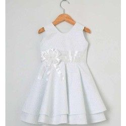 Vestido para Batizado Sem Manga Tecido Tricoline Estampado Com Babado e Laço - Tamanho 01