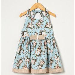 Vestido sem Manga Feminino Laço Floral Azul Tecido Tricoline - Tamanho 02