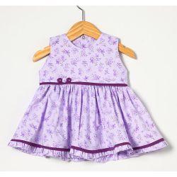 Vestido sem Manga Estampado Lilás Tecido Tricoline - Tamanho M