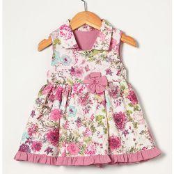 Vestido sem Manga Estampado Floral Rosê Tecido Tricoline - Tamanho P