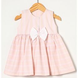 Vestido sem Manga com Laço Rosa BB Tecido Tricoline - Tamanho 02