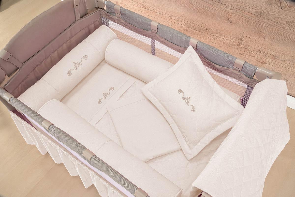 Protetor para Berço Desmontável - Protetores Laterias e Cabeceira - Tecido 100% Algodão