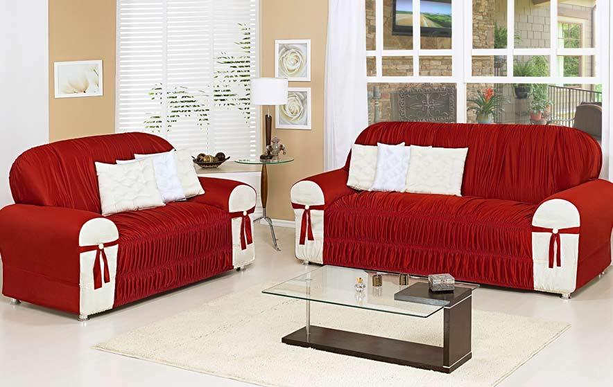 Capa de Sof� Glamour Para 3 e 2 Lugares - Malha - Vermelho/Marfim