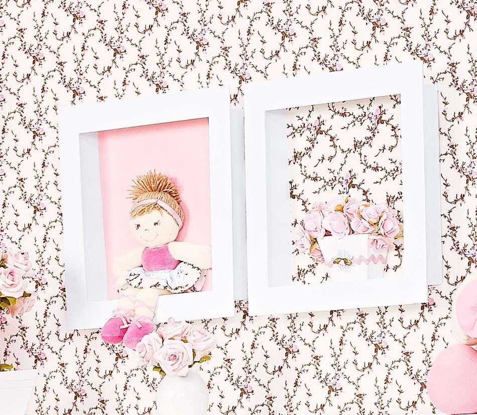 Nicho Decorado 02 Peças - Coleção Balerina - Rosa
