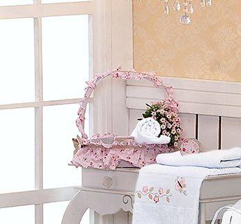 Conjunto de 03 Potes de Vidro Enfeitados - Coleção Jardim das Flores - Rosa