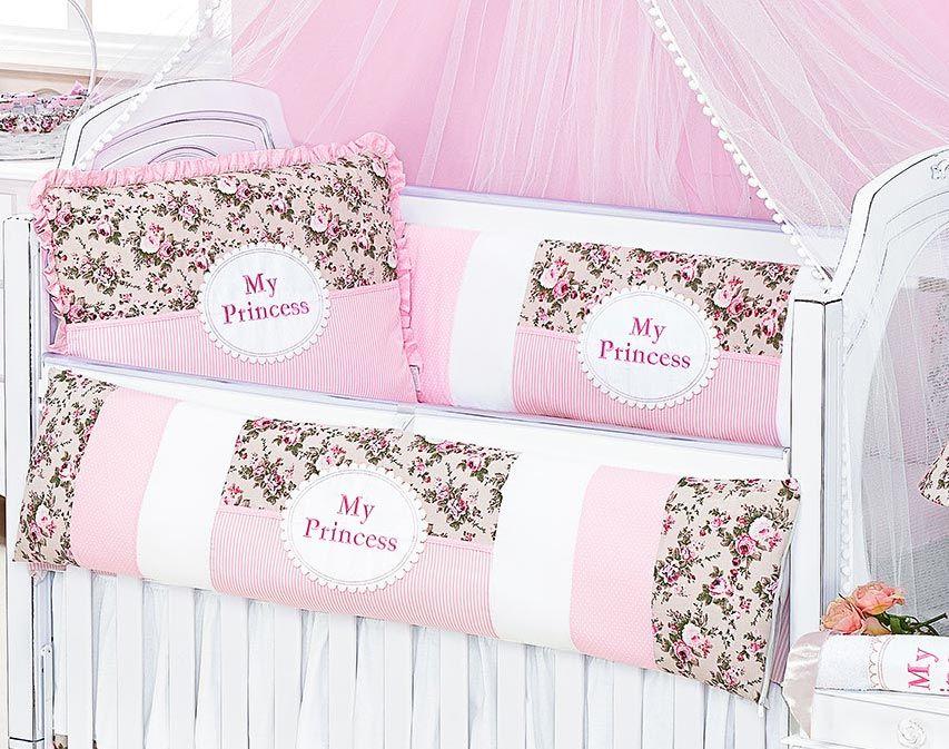 Kit Berço 08 Peças Americano c/ Mosquiteiro - Coleção My Princess - 100% Algodão - Rosa