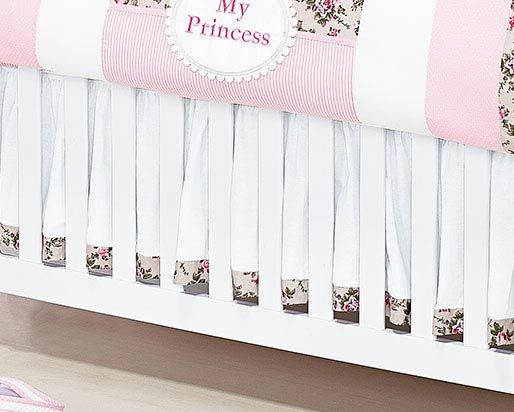 Babado Para Berço 02 Lados - Coleção My Princess - 100% Algodão - Rosa