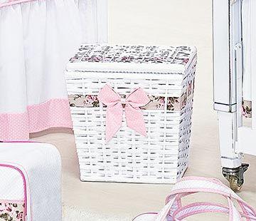 Lixeira Enfeitada de Vime - Coleção My Princess - Rosa