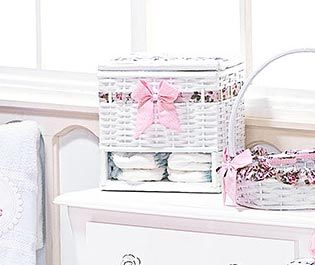 Porta Fralda de Vime - Coleção My Princess - Rosa