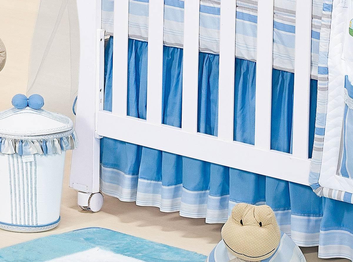 Babado Para Berço 03 Lados - Coleção Aventura - 100% Algodão - Azul