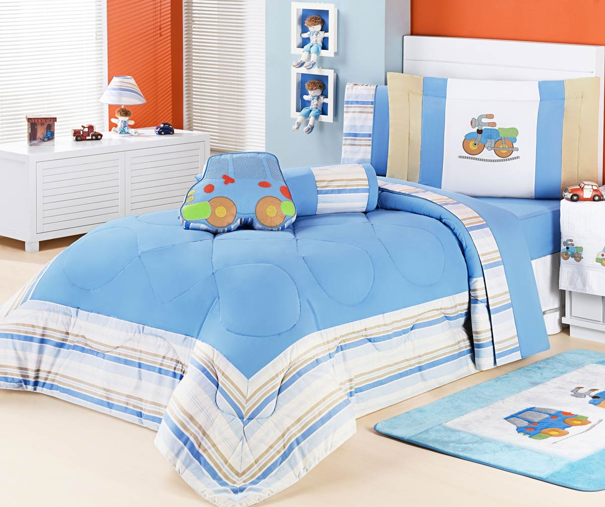 Cobre Leito Solteiro Aventura - 100% Algodão - Acompanha Almofadas - Azul