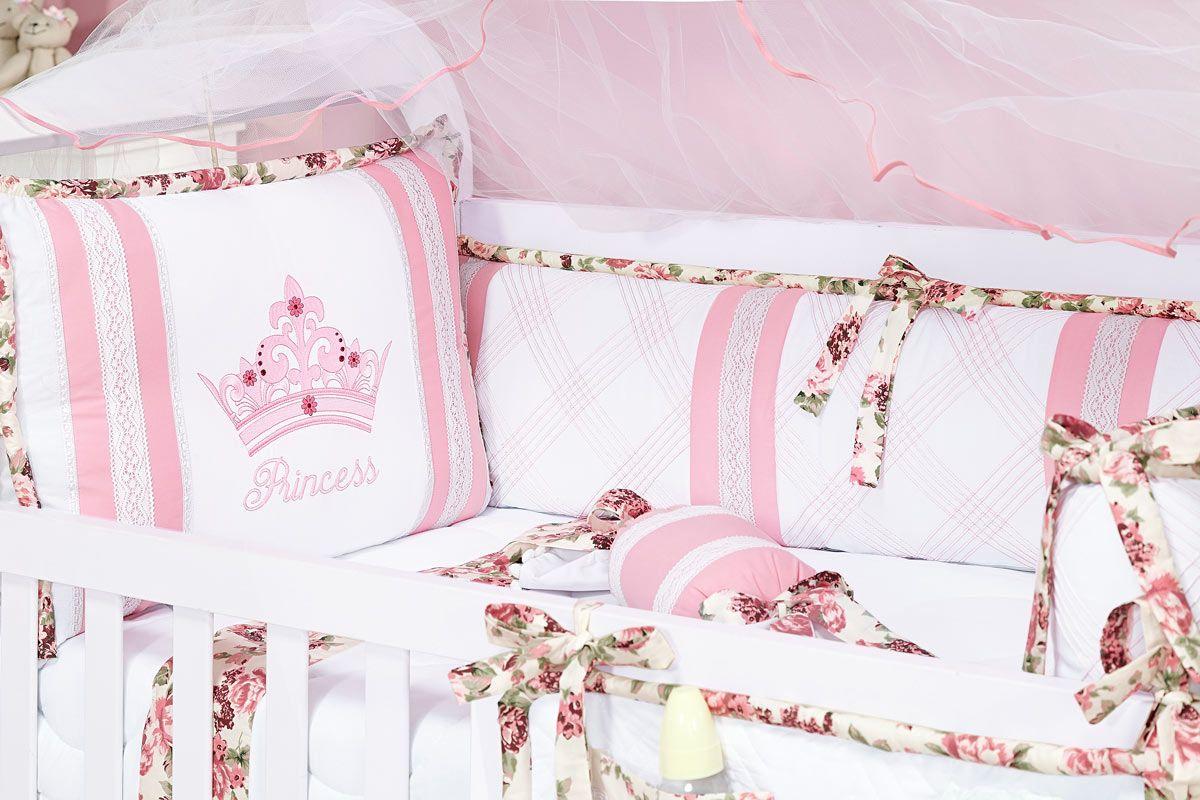 Kit Berço 09 Peças Americano c/ Mosquiteiro - Coleção Princess - 100% Algodão 180 Fios - Rosa