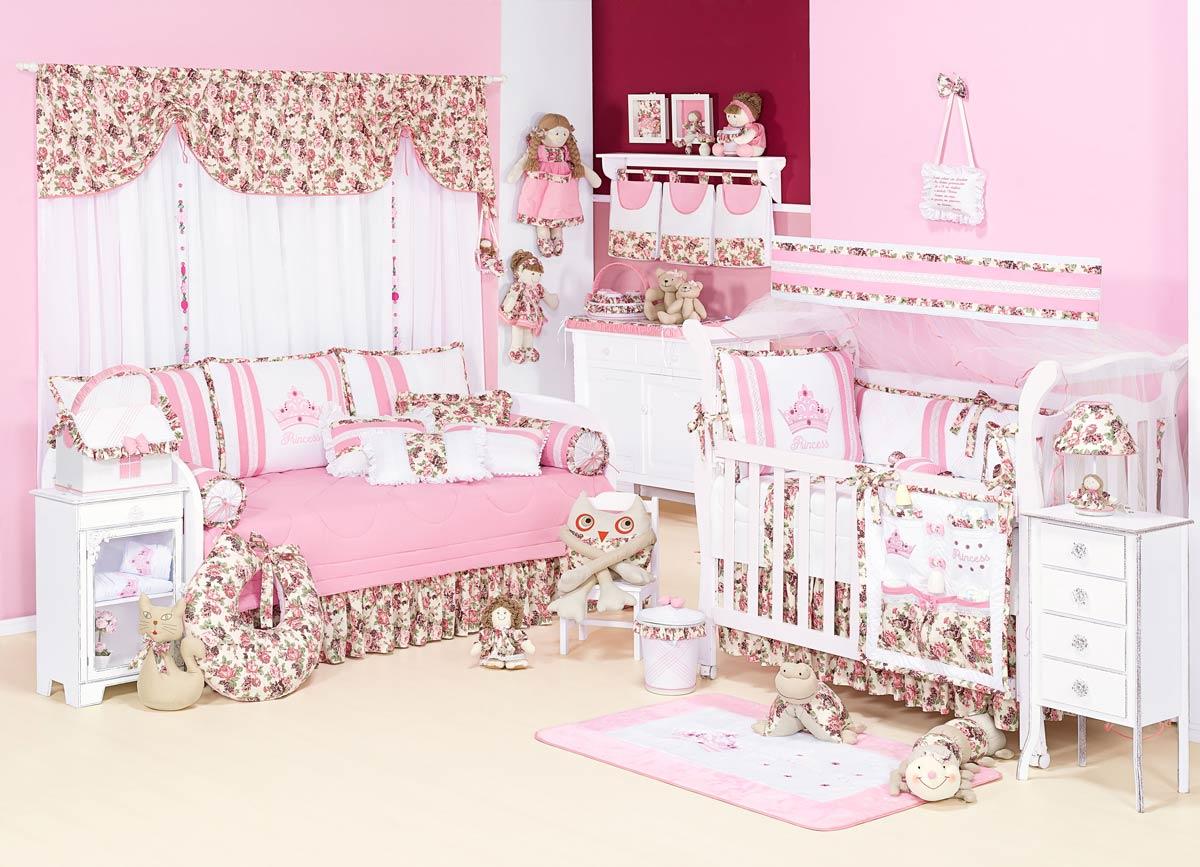 Kit Cama Babá 10 Peças - Coleção Princess - 100% Algodão 180 Fios - Rosa