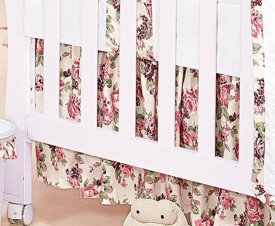 Babado Para Berço 03 Lados - Coleção Princess - 100% Algodão 180 Fios - Rosa