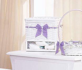 Porta Fralda de Vime - Cole��o Floral Baby - Lil�s