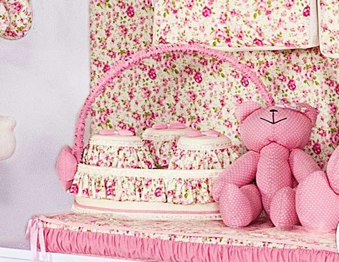 Kit de Acessórios 05 Peças - Coleção Florence Baby - Abajur, Cesta e Conjunto de Potes - Palha c/ Rosa