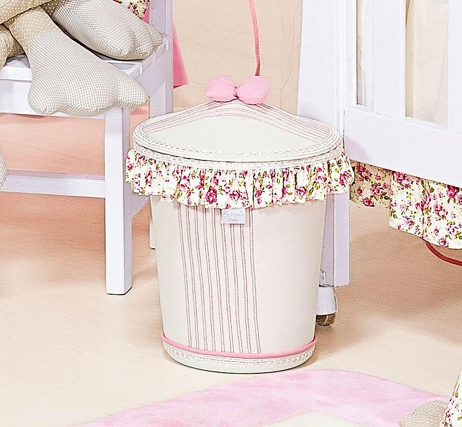Lixeira Enfeitada - Coleção Florence Baby - Palha c/ Rosa
