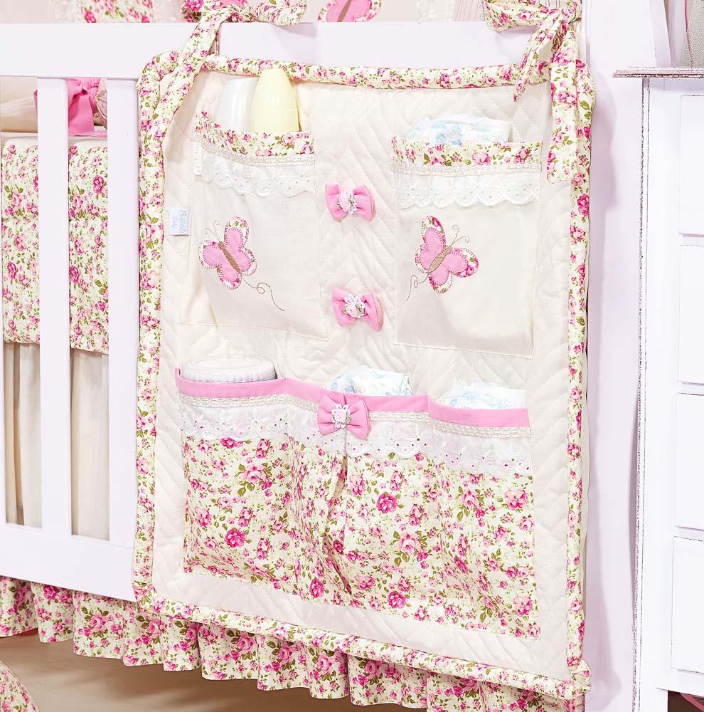 Porta Treco para Bebê - Coleção Florence Baby - Palha c/ Rosa