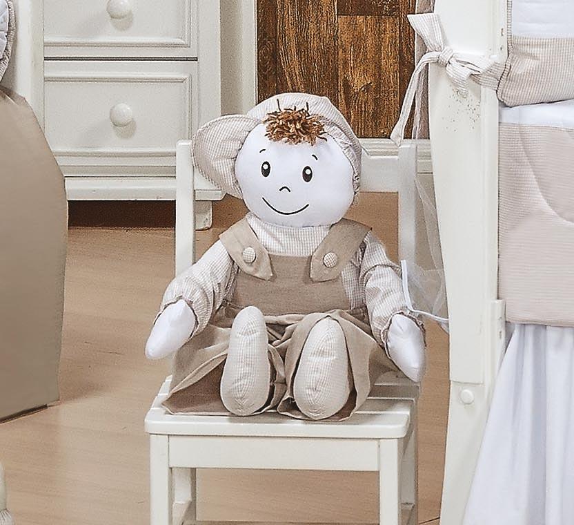 Almofada Boneco Tamanho Irregular - Coleção Luxo - 100% Algodão - Caqui