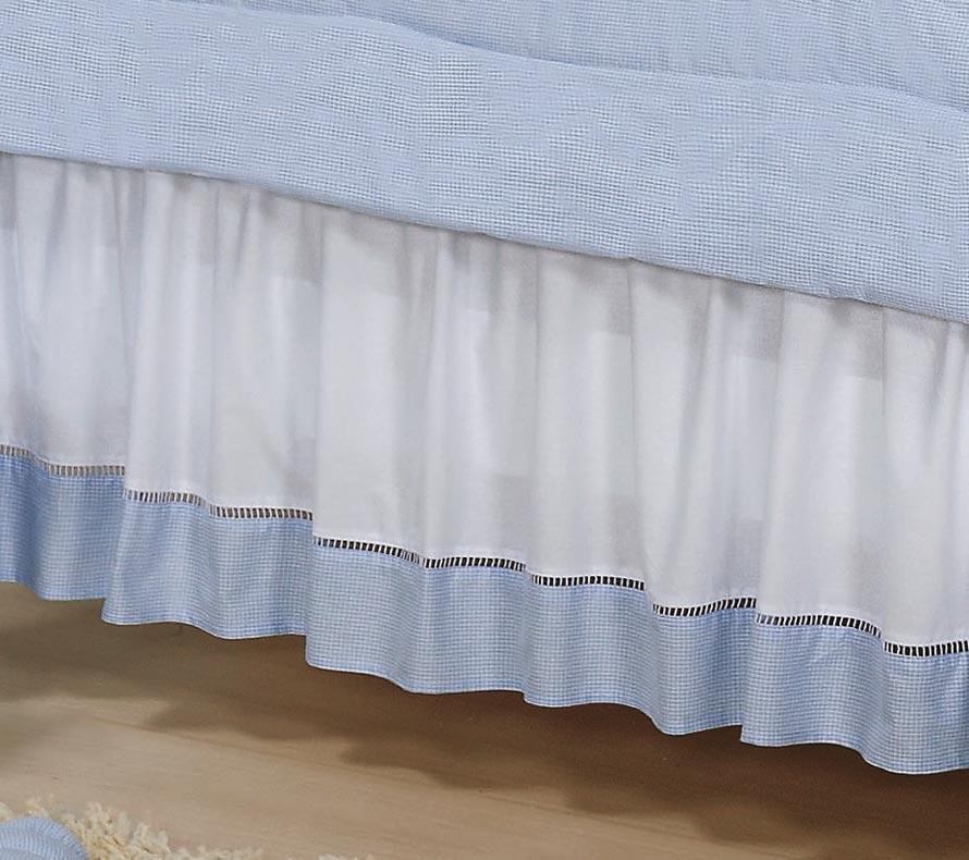 Babado Para Berço 02 Lados - Coleção Luxo - 100% Algodão 180 Fios - Azul