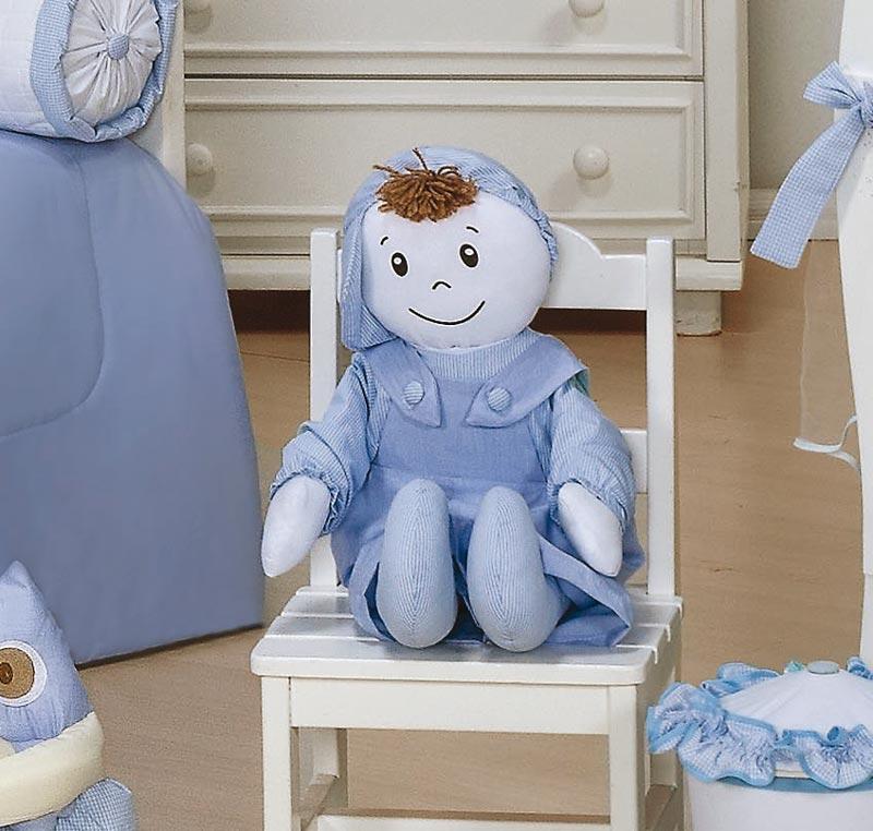 Almofada Boneco Tamanho Irregular - Coleção Luxo - 100% Algodão - Azul