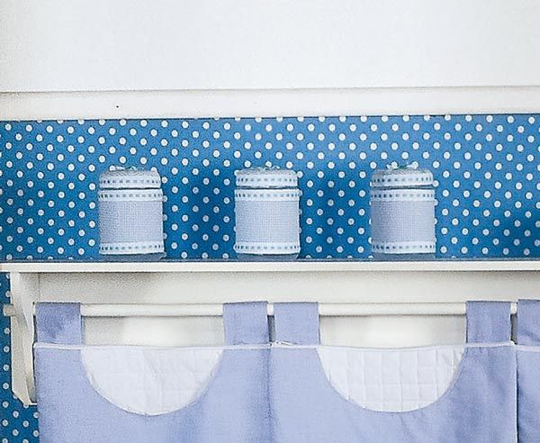 Conjunto de 03 Potes Enfeitados - Coleção Luxo - Azul