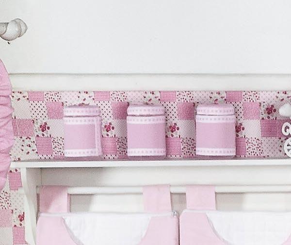 Conjunto de 03 Potes Enfeitados - Coleção Luxo - Rosa
