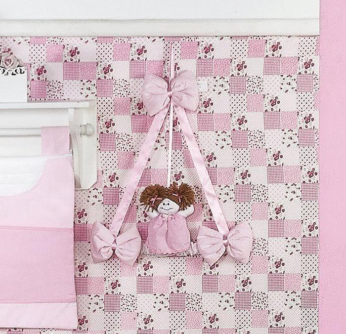 Enfeite de Porta 100% Algodão - Coleção Luxo - Rosa
