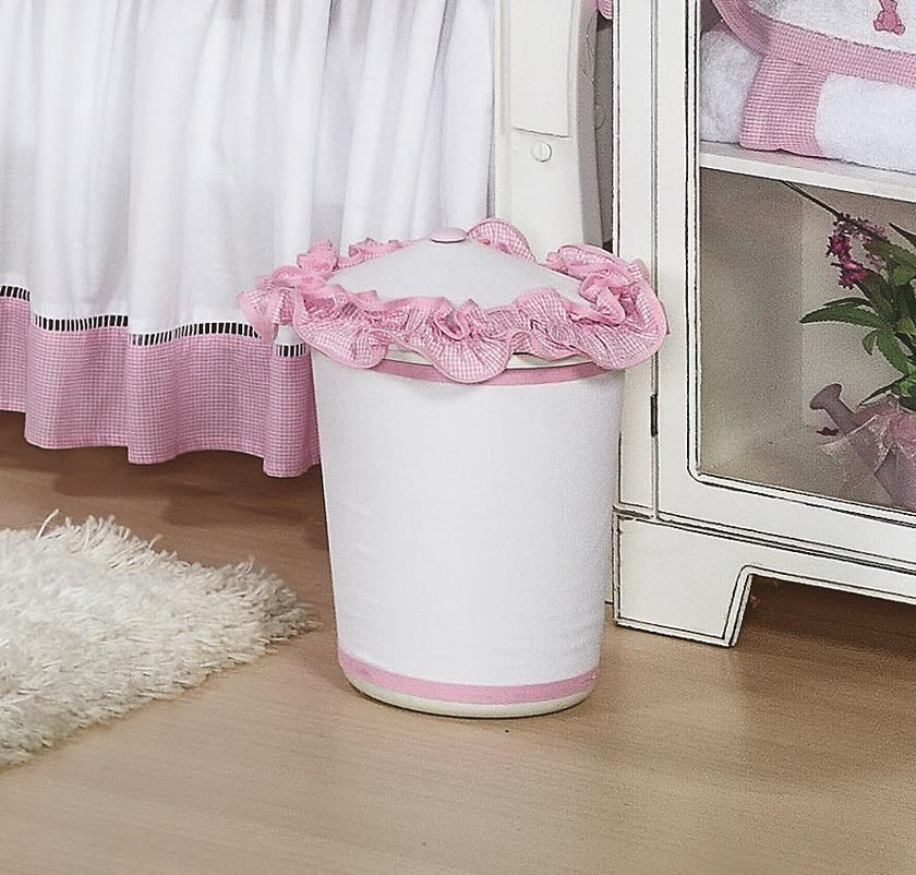 Lixeira Enfeitada - Coleção Luxo - Rosa