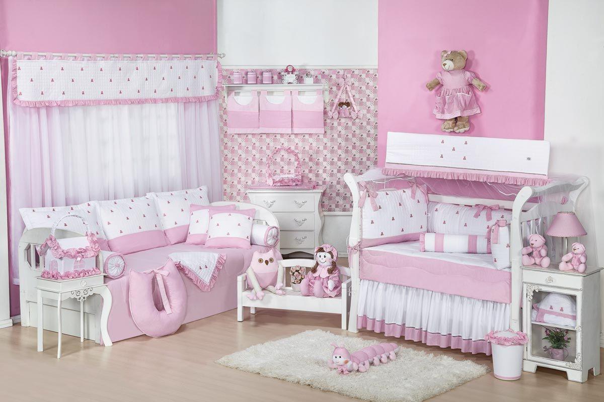 Manta de Piquet Bordada - Coleção Luxo - Rosa