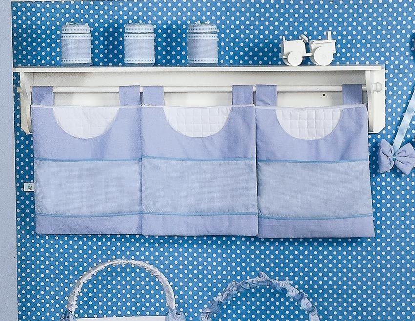 Porta Fraldas de Varão 03 Peças - Coleção Luxo - Azul