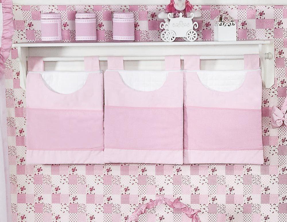 Porta Fraldas de Varão 03 Peças - Coleção Luxo - Rosa