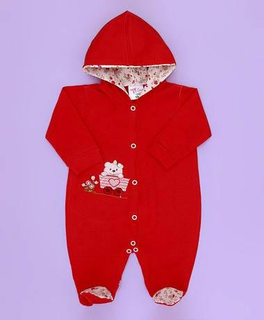 Macacão Bordados com Capuz e Manga Urso Coração - Tecido Malha - Vermelho - M
