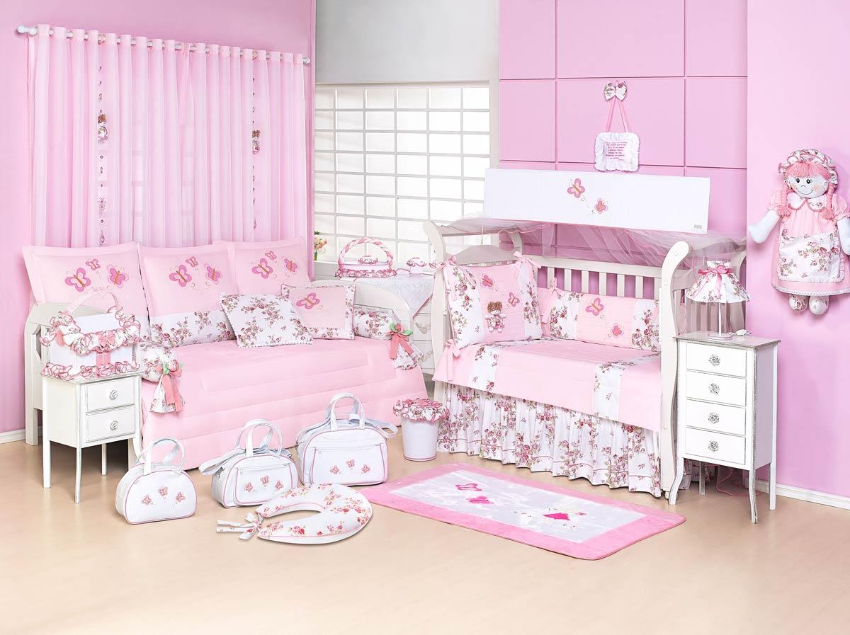 Kit Berço 09 Peças Americano c/ Mosquiteiro - Coleção Cristal Baby - 100% Algodão - Bordado - Rosa