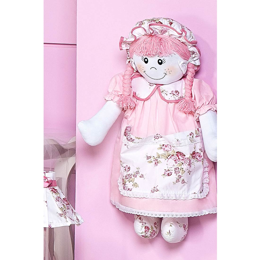 Porta Fraldas Boneco - Coleção Cristal Baby - Rosa - 70cm alt.