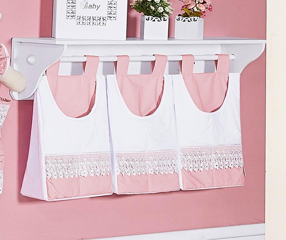 Porta Fraldas de Varão 03 Peças - Coleção Belle Rosé - Rosé