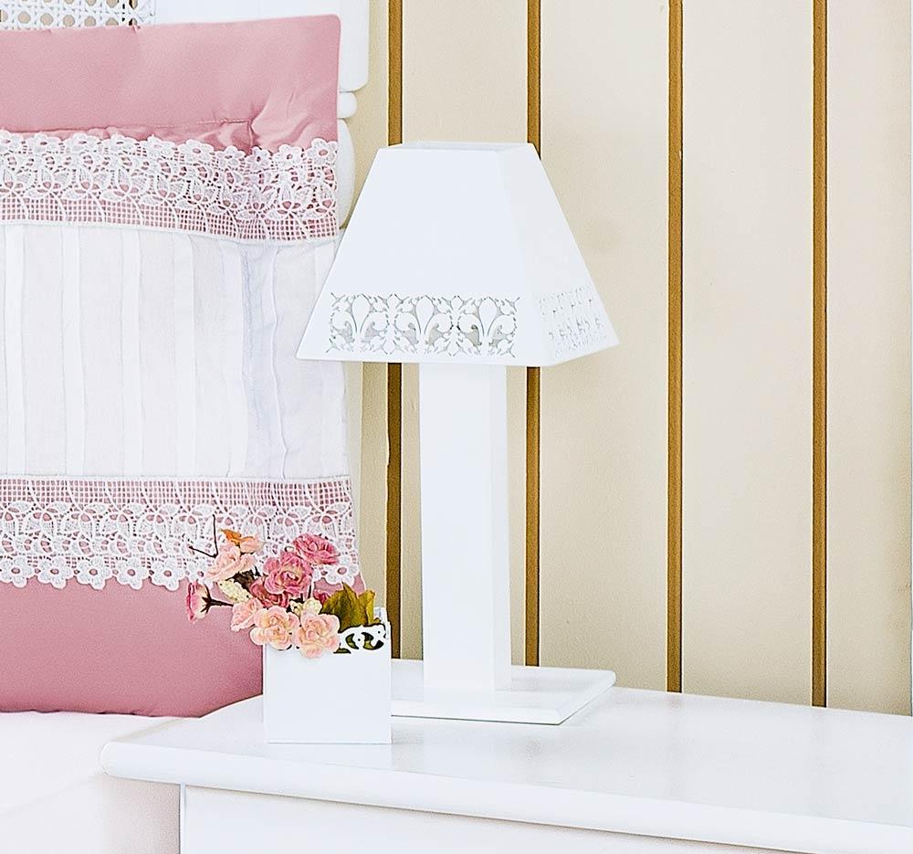 Abajur Enfeitado em MDF - Coleção Belle Rosé - Branco