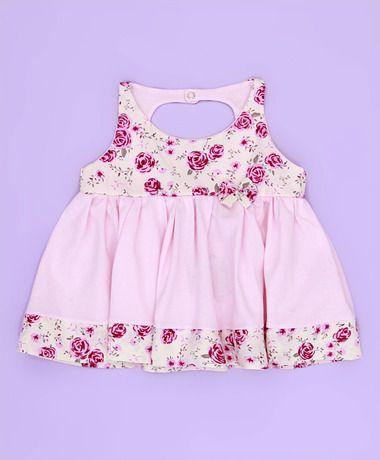 Vestido sem Manga Florido - Tecido Malha - Rosa - M