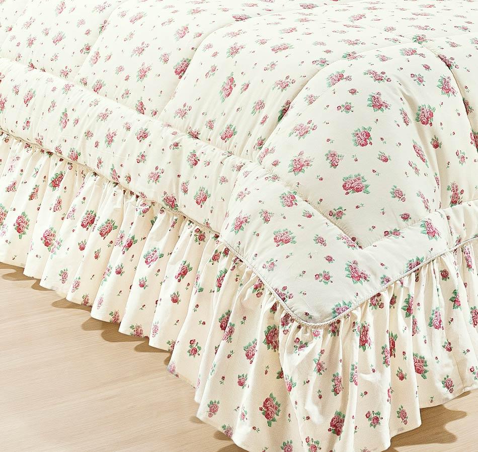Colcha Casal Queen Bouquet 20 Peças - 100% Algodão 200 Fios - Acompanha Almofadas e Lençol - Palha