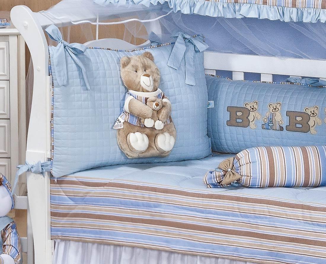 Kit Berço 09 Peças Americano c/ Mosquiteiro - Coleção Baby Kids - 100% Algodão 180 Fios - Bordado - Azul