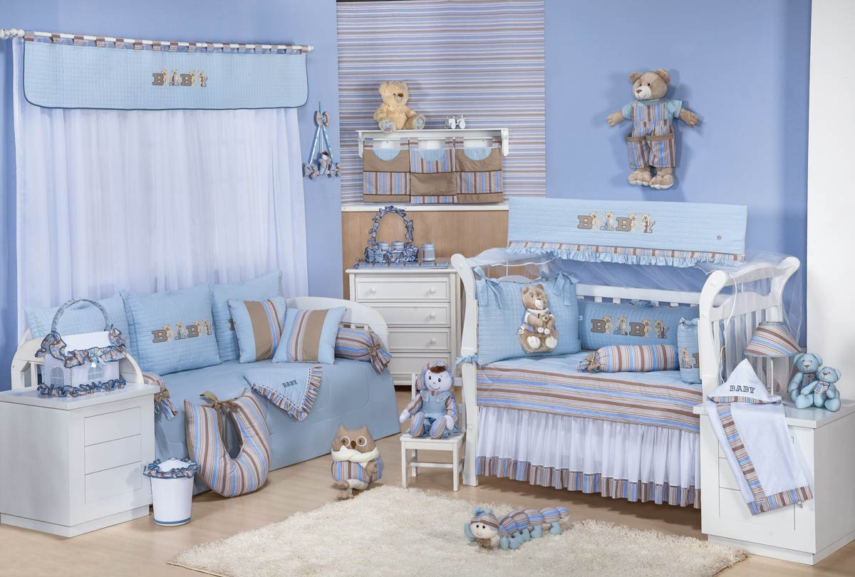 Manta de Piquet Bordada - Coleção Baby Kids - Azul
