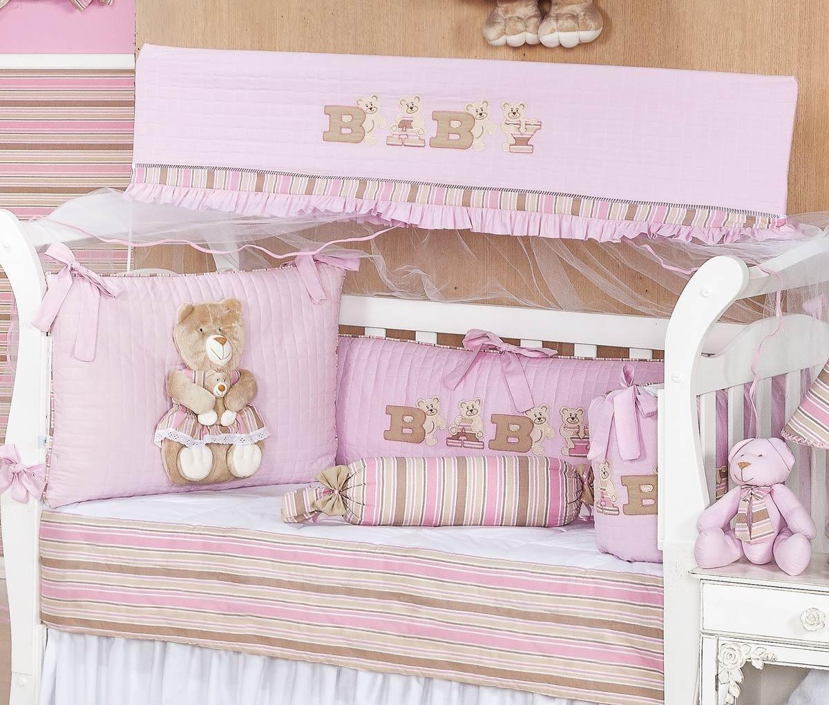 Kit Berço 09 Peças Americano c/ Mosquiteiro - Coleção Baby Kids - 100% Algodão 180 Fios - Bordado - Rosa