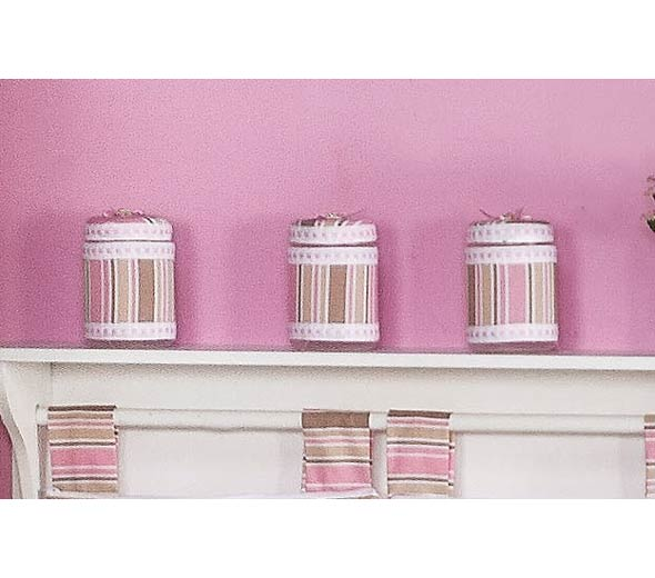 Conjunto de 03 Potes Enfeitados - Coleção Baby Kids - Rosa
